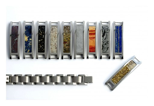 Interchangeable Bracelet with Unique Material Inlay Options